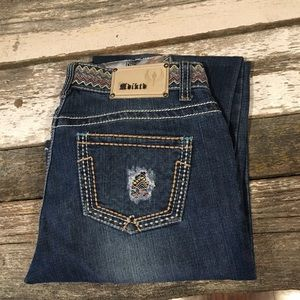 Adiktd jeans with patterned waist and rose details